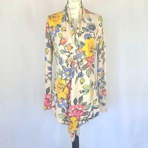 wool blend vintage floral open cardigan - multi